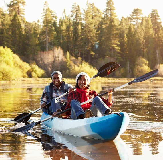 Couple enjoying kayaking