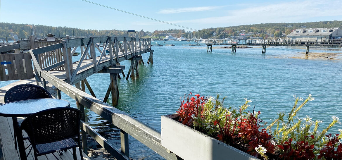 view of Maine harbor from vacation rental