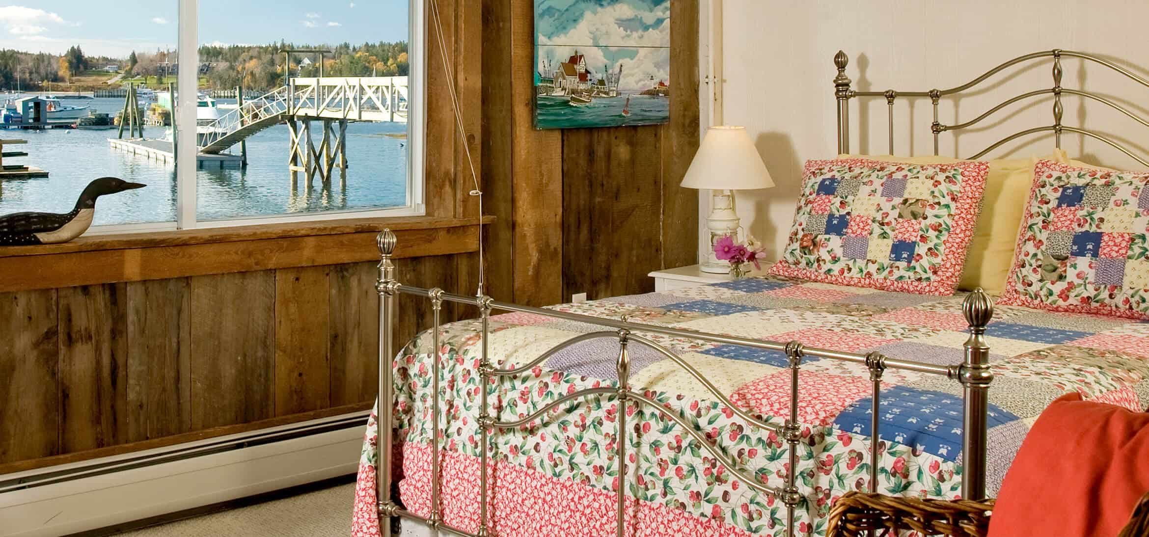 guest room in Maine with quilt