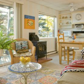 cozy vacation rental with trees in the window
