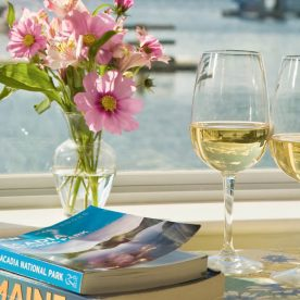 wine and Maine guide books on table